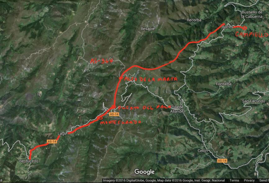 Day Five Camino Primitivo, Hospitales Route, Google Earth Map