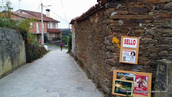 Sign for Sellos Up Ahead, Arzúa, Spain, Camino Primitivo