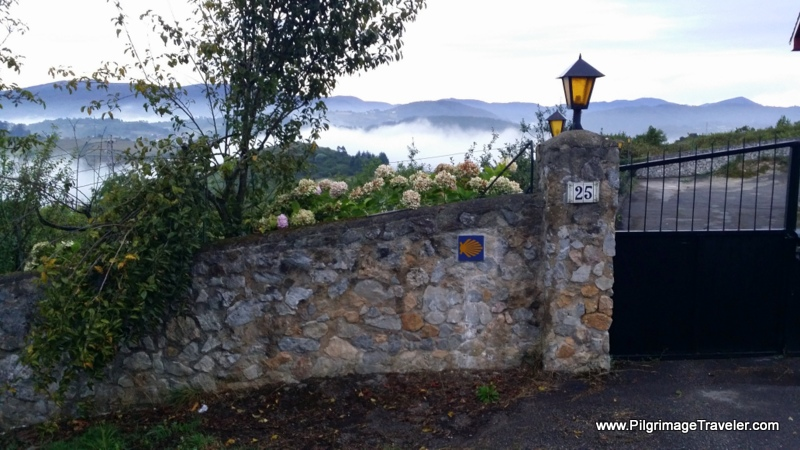 Stone Wall and Camino Waymark, Asturias, Spain