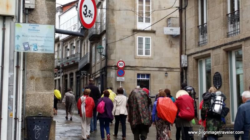 French Way Pilgrims Entering the City of Santiago de Compostela