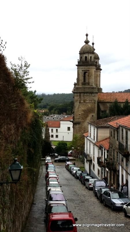 View of the Church of San Francisco from Top of the Costa Vella Stairs, in the old section of Santiago de Compostela, Galicia, Spain