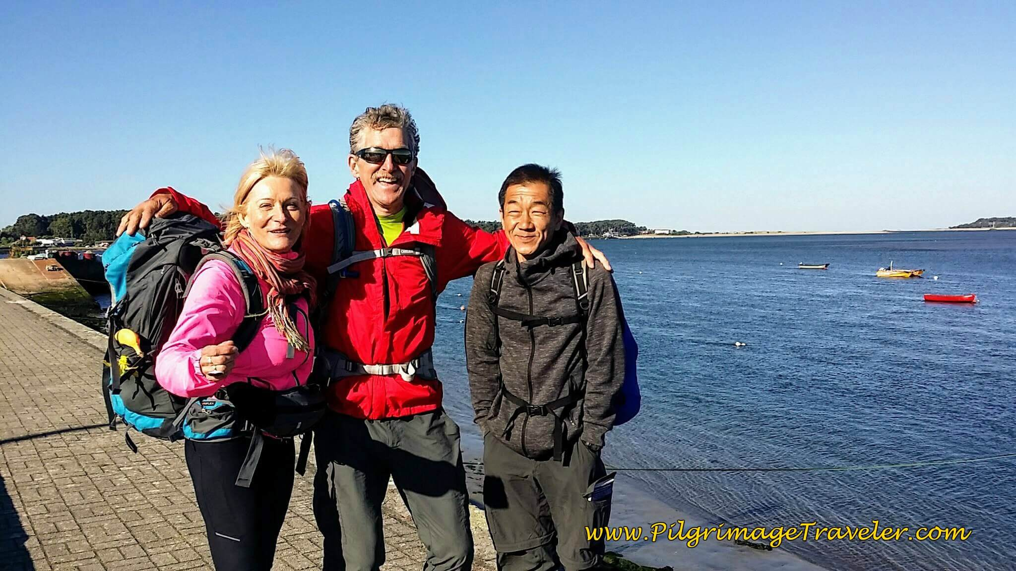 Janny, Rich and Hiro Along the Minho Waterfront on Day Nineteen, Camino Portugués