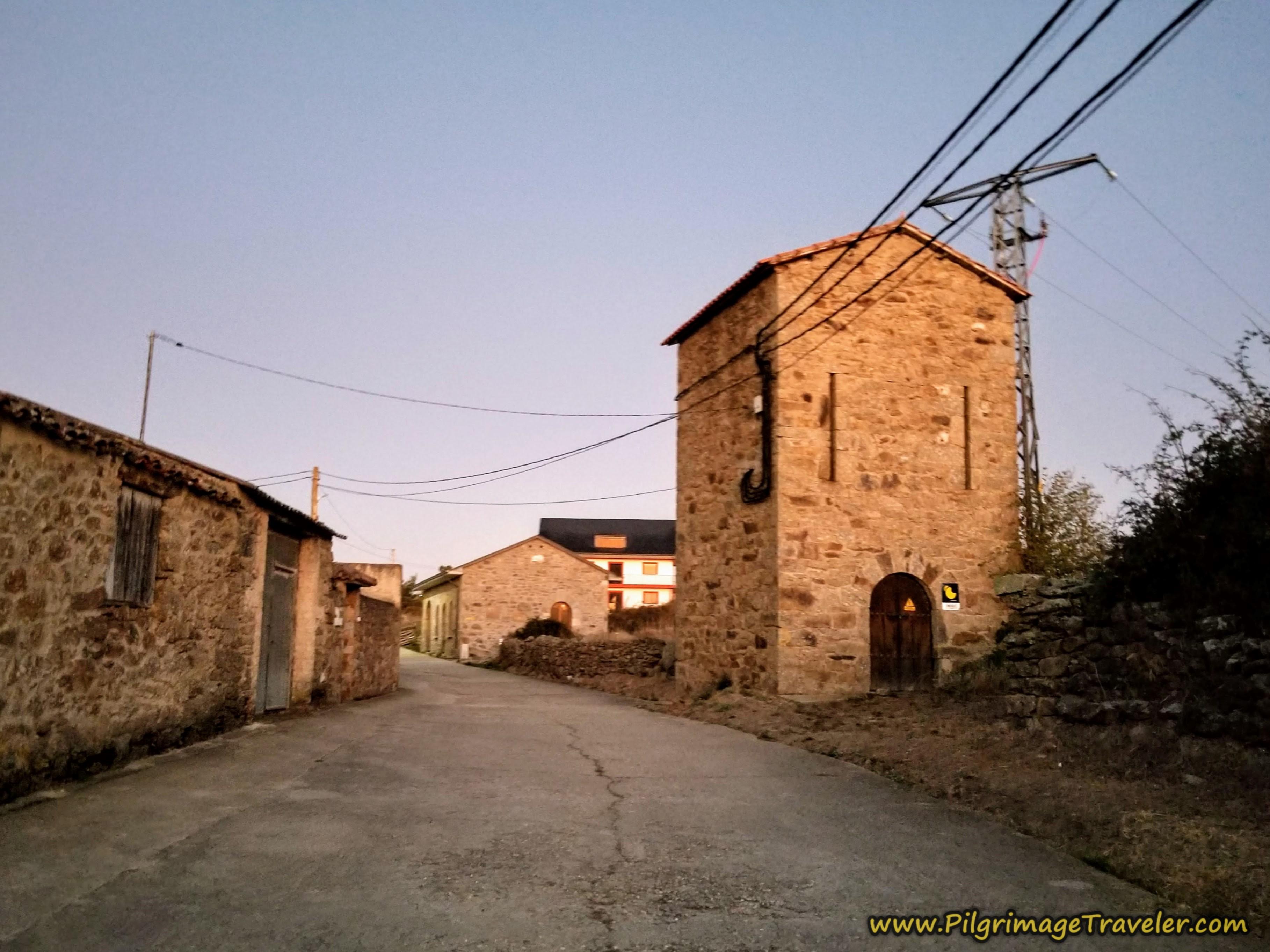 Leaving Rionegro del Puente at Daybreak on the Camino Sanabrés from Rionegro del Puente to Entrepeñas