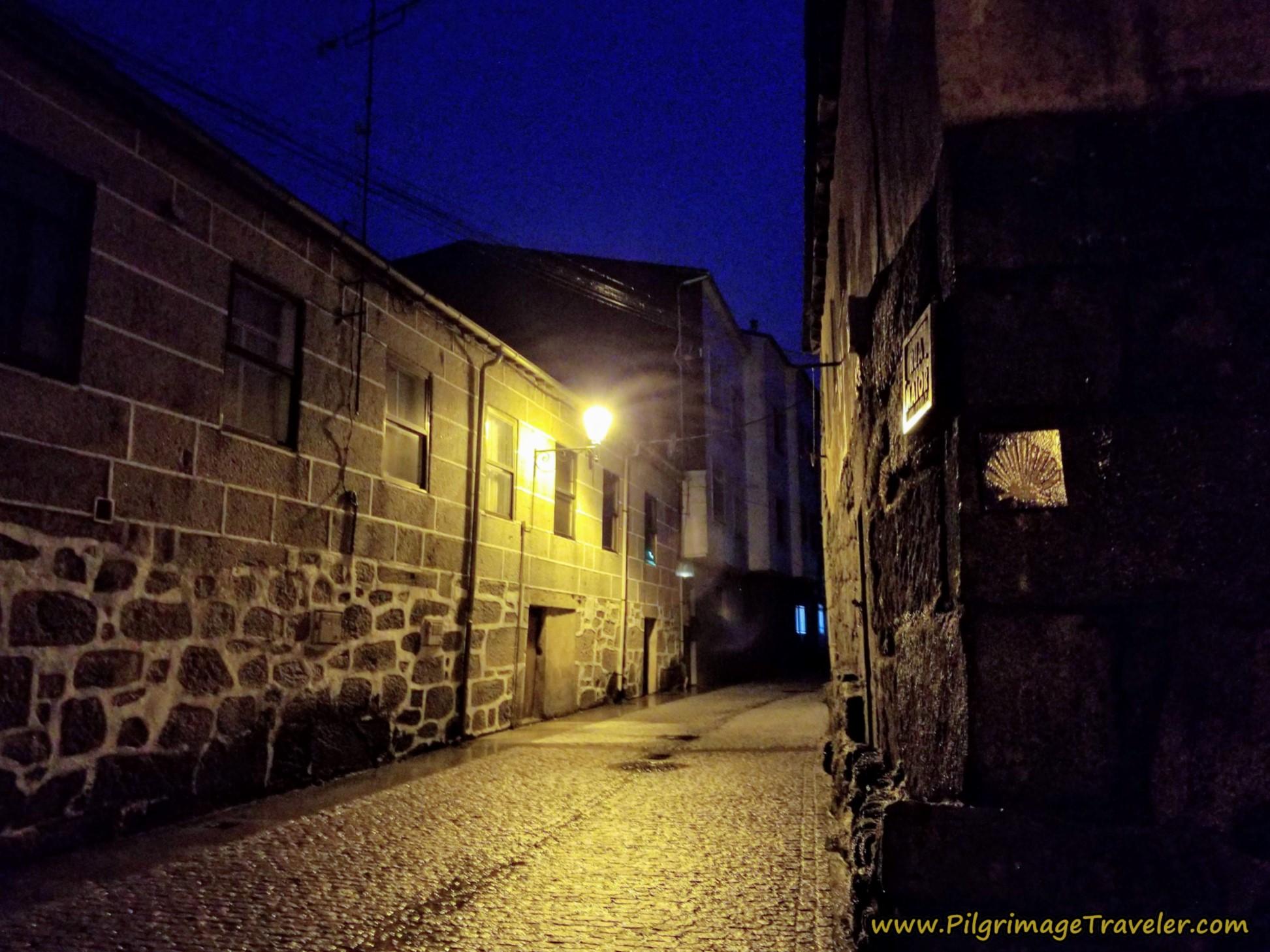 Right Turn Onto the Rúa Maior on the Camino Sanabrés from A Gudiña to A Venda da Capela