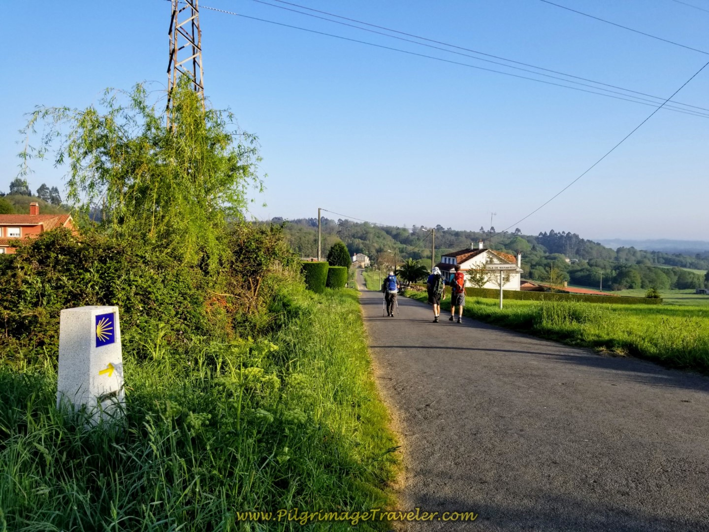 Turn Off the Frontage Road, Towards the Hamlet of Vila de Marantes on day eight of the Camino Inglés