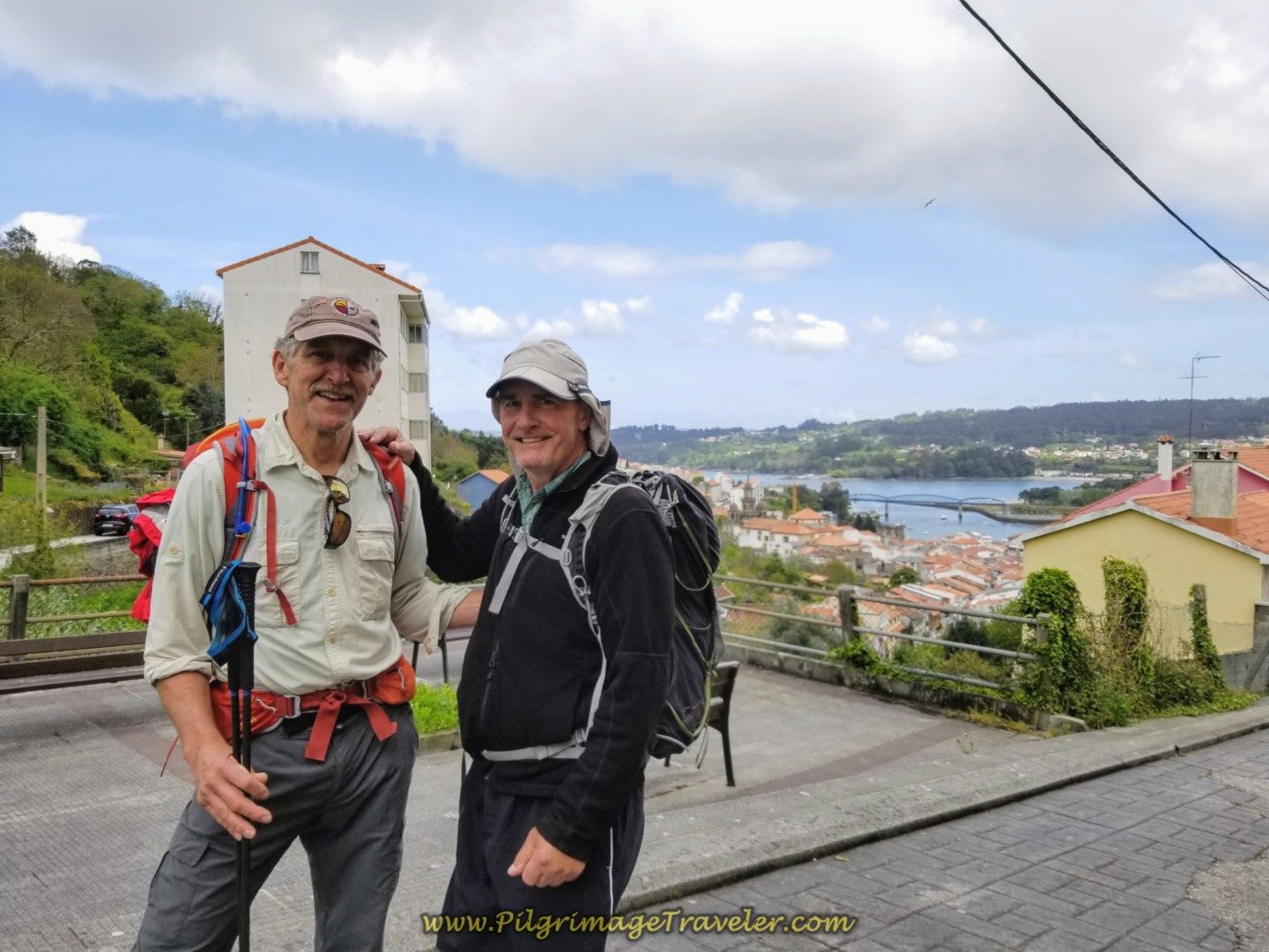 Rich and Rob at Viewpoint Over Pontedeume on day three of the Camino Inglés