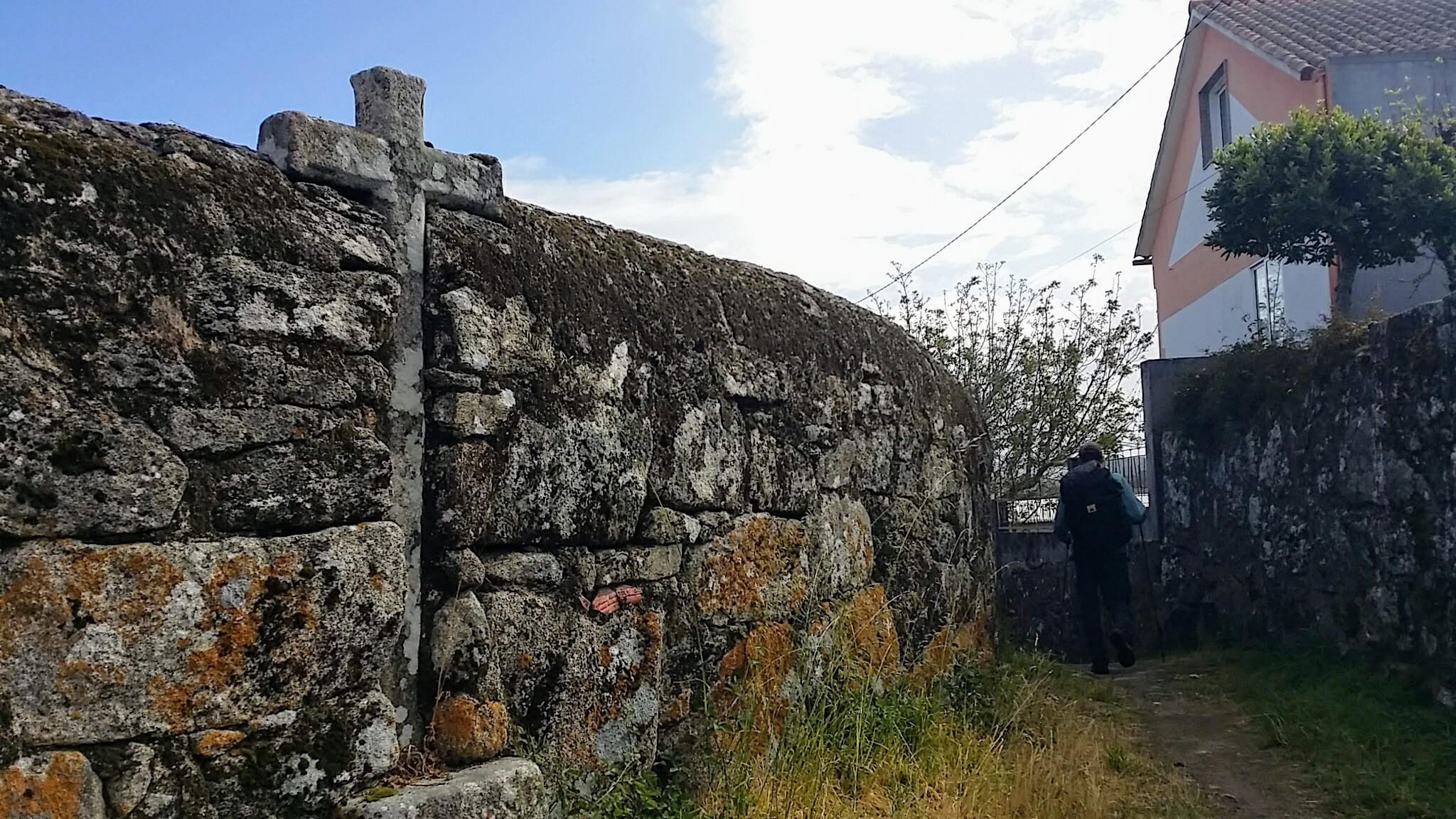 Crosses Embedded in High Wall on day twenty-one of the Camino Portugués