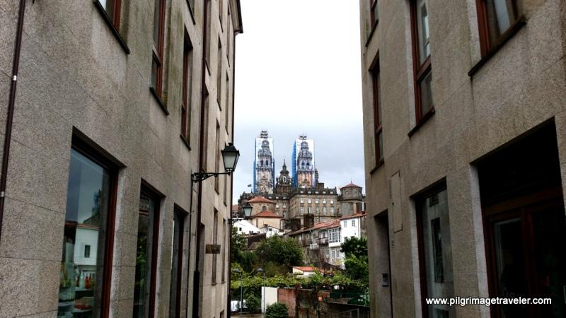 The Cathedral to Santiago from the Rúa Hortas, Santiago de Compostela, Galacia, Spain