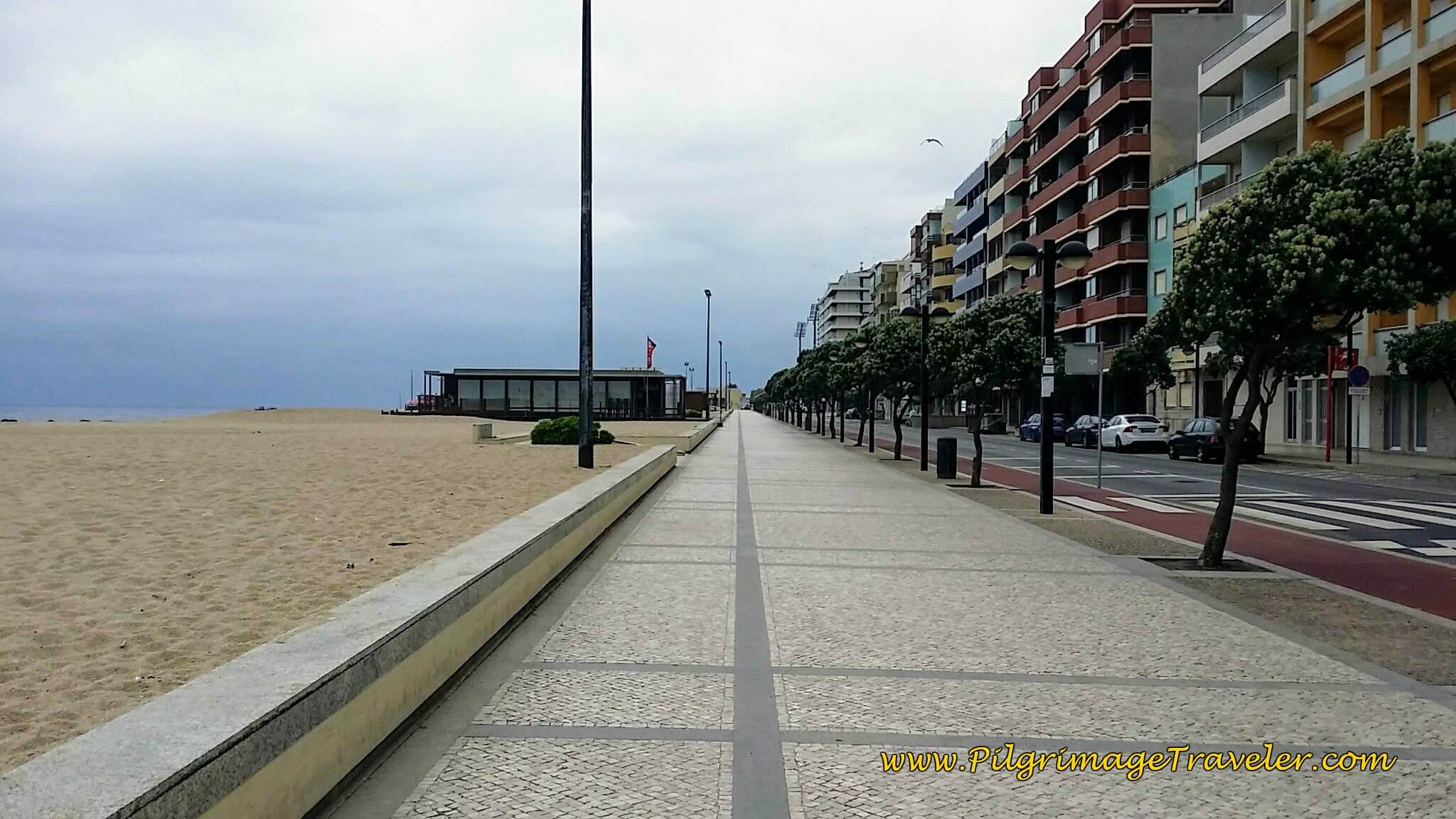 Promenade Along the Praia da Salgueira in Póvoa Varzim on day sixteen of the Camino Portugués on the Coastal Route