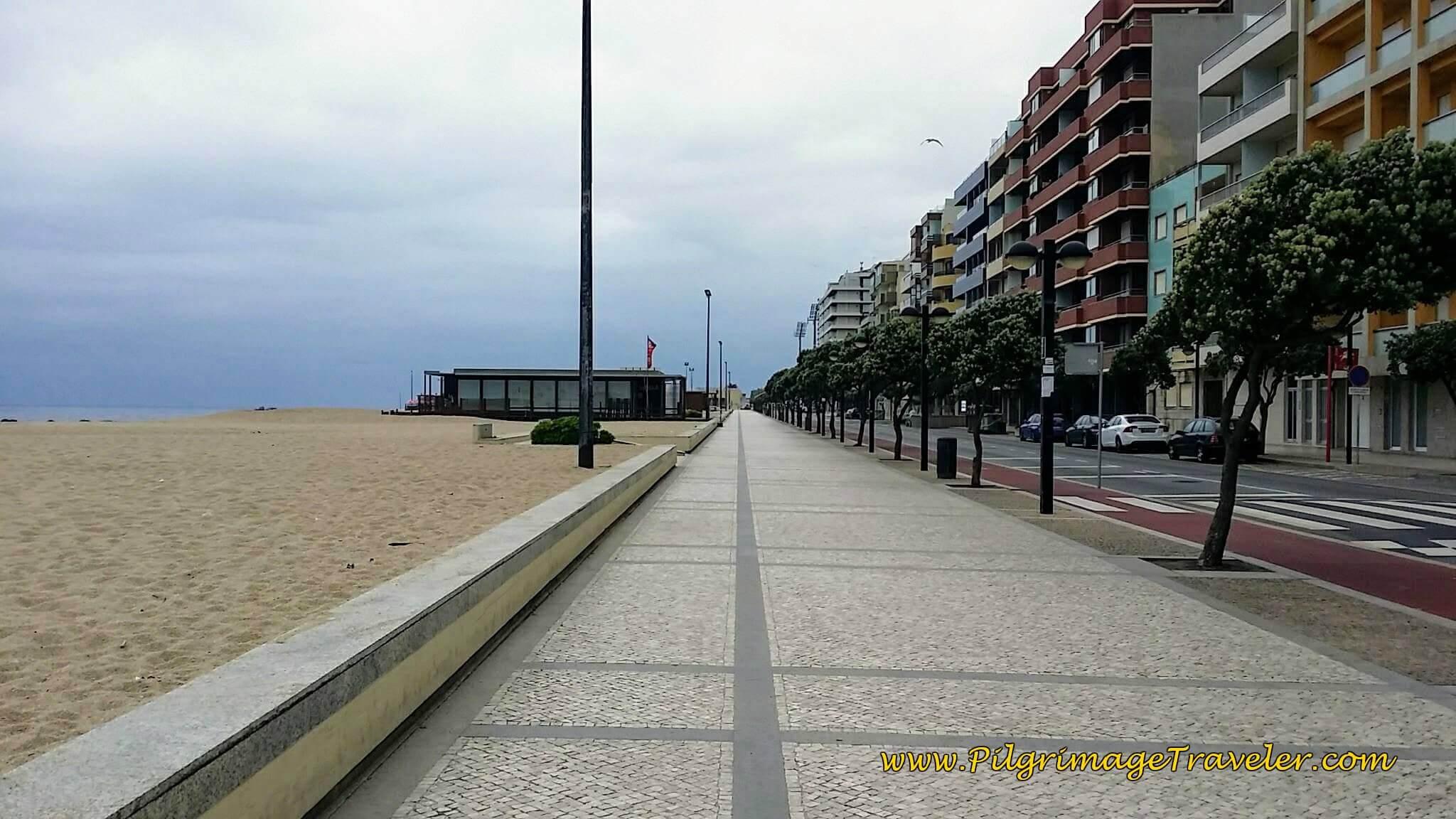 Promenade Along the Praia da Salgueira in Póvoa Varzim on day sixteen of the Camino Portugués on the Coastal Route