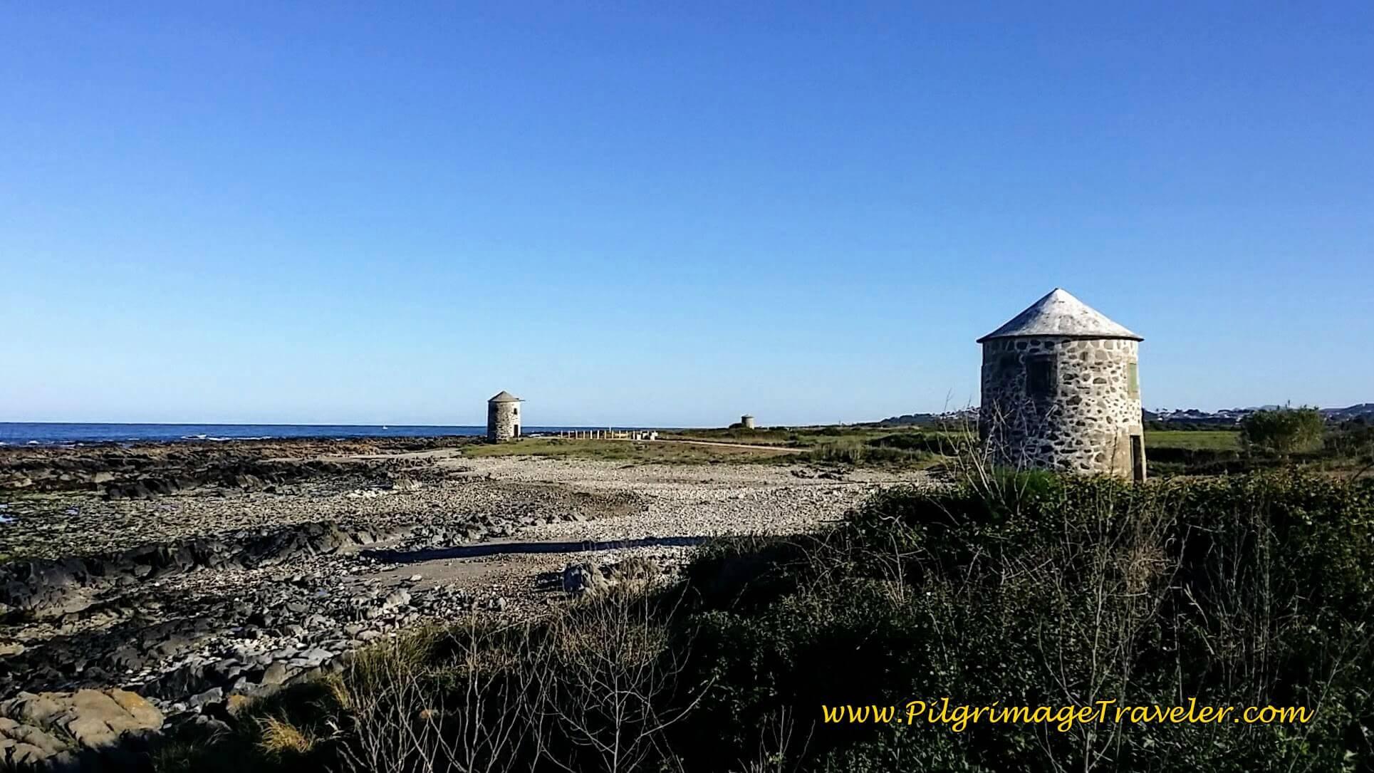 Row of Windmills on day eighteen of the Camino Portugués on the Senda Litoral