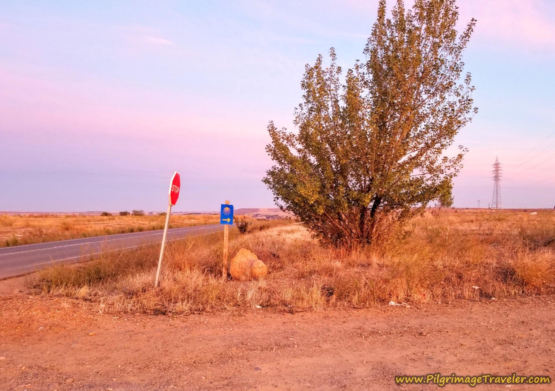 Right Turn Onto the Camino de los Cascajos