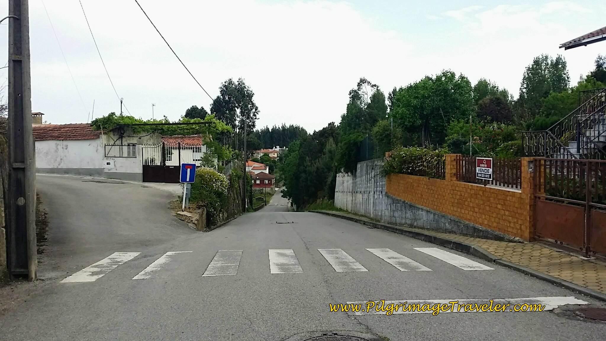 Right Onto Estrada dos Reis on day thirteen on the Camino Portugués