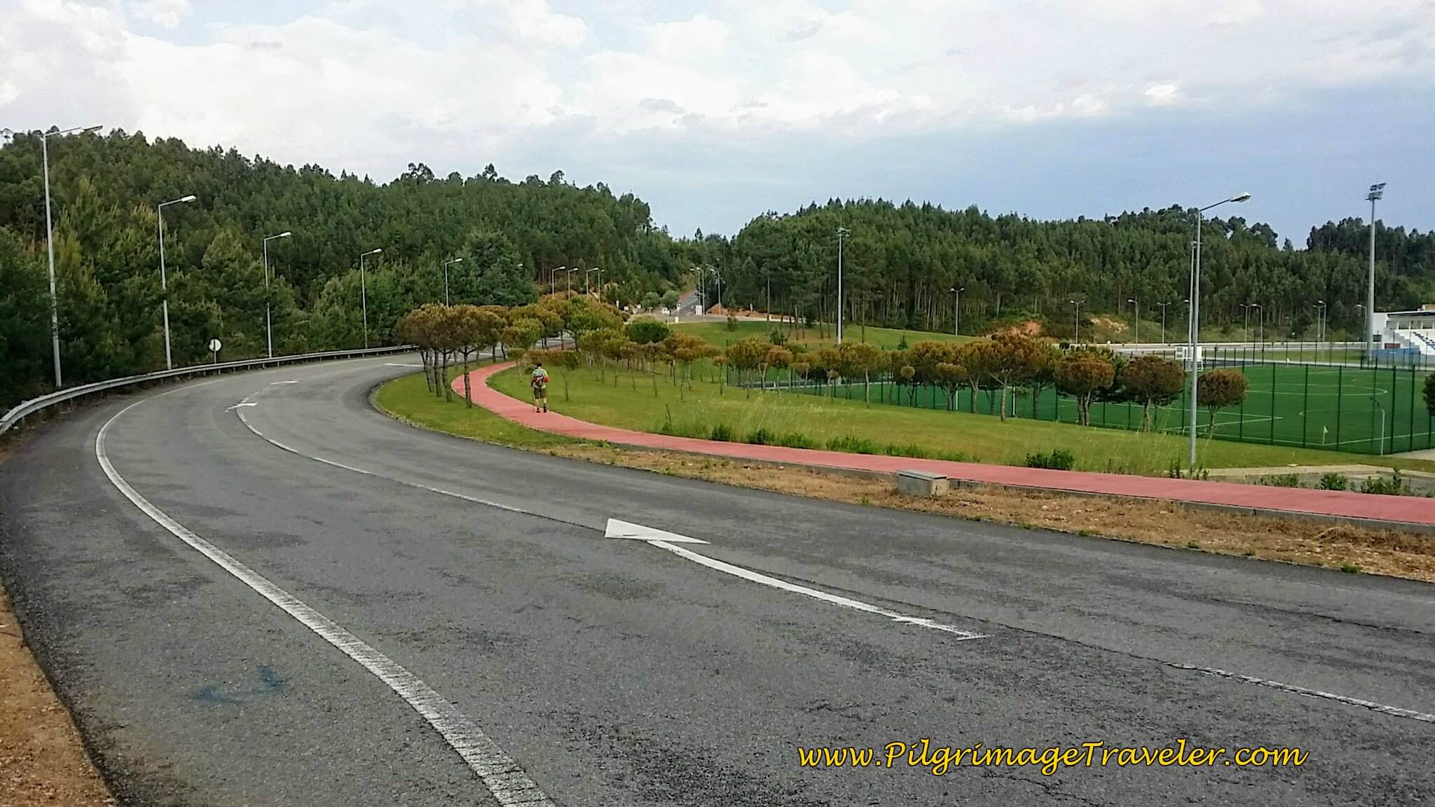 Turn Left onto Path Along the Rua Val de Azar at the Sports Complex of Anadia on the Camino Portugués