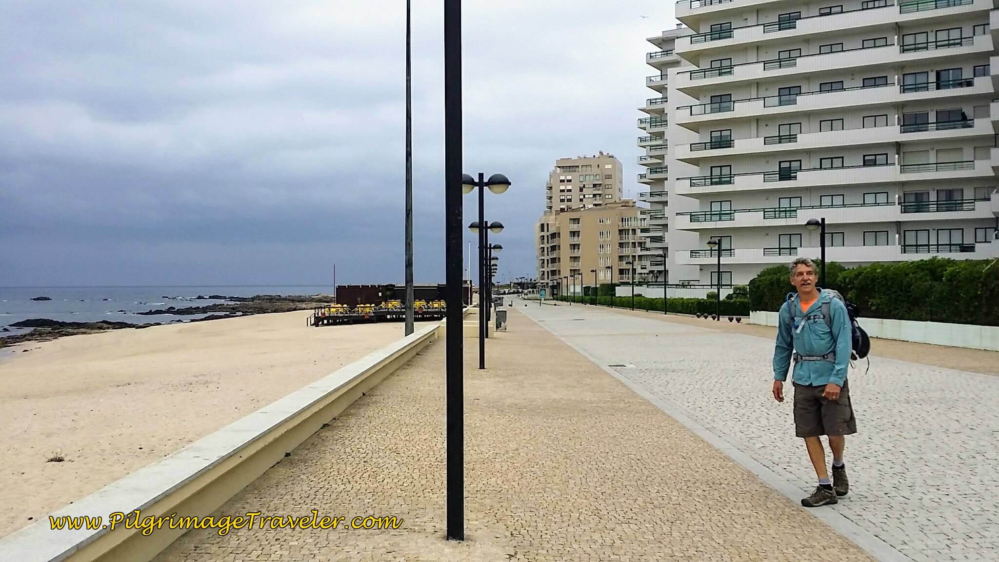 Rich on the Avenida dos Pescadores at the Praia Lagoa on day sixteen of the Camino Portugués on the Coastal Route