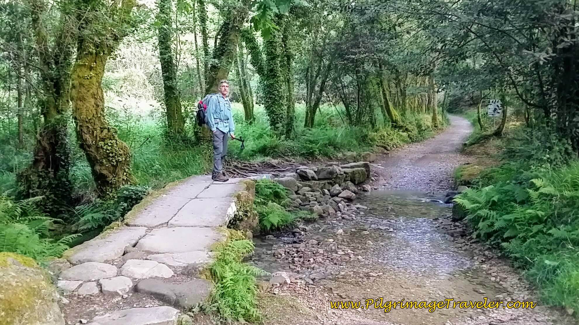 Crossing the Rîo da Gándara on day twenty-three, Camino Portugués