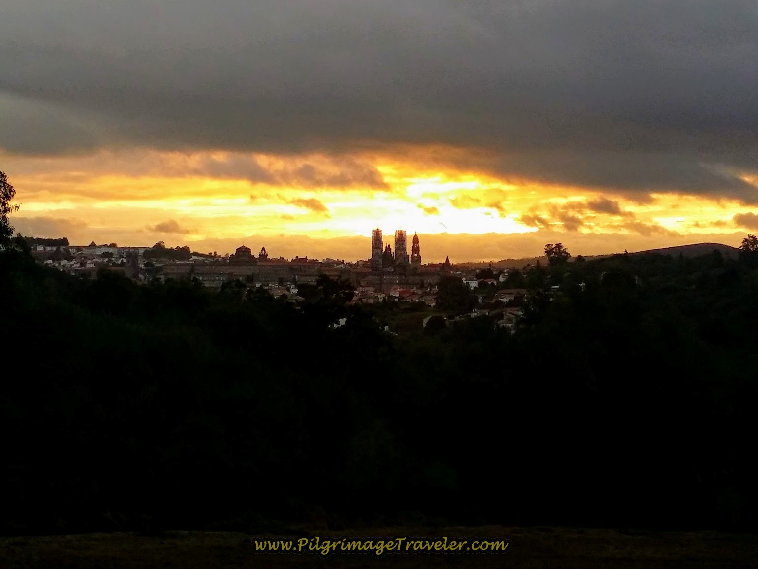 Sunrise View of the Cathedral in Santiago de Compostela on Day One of the Camino Finisterre