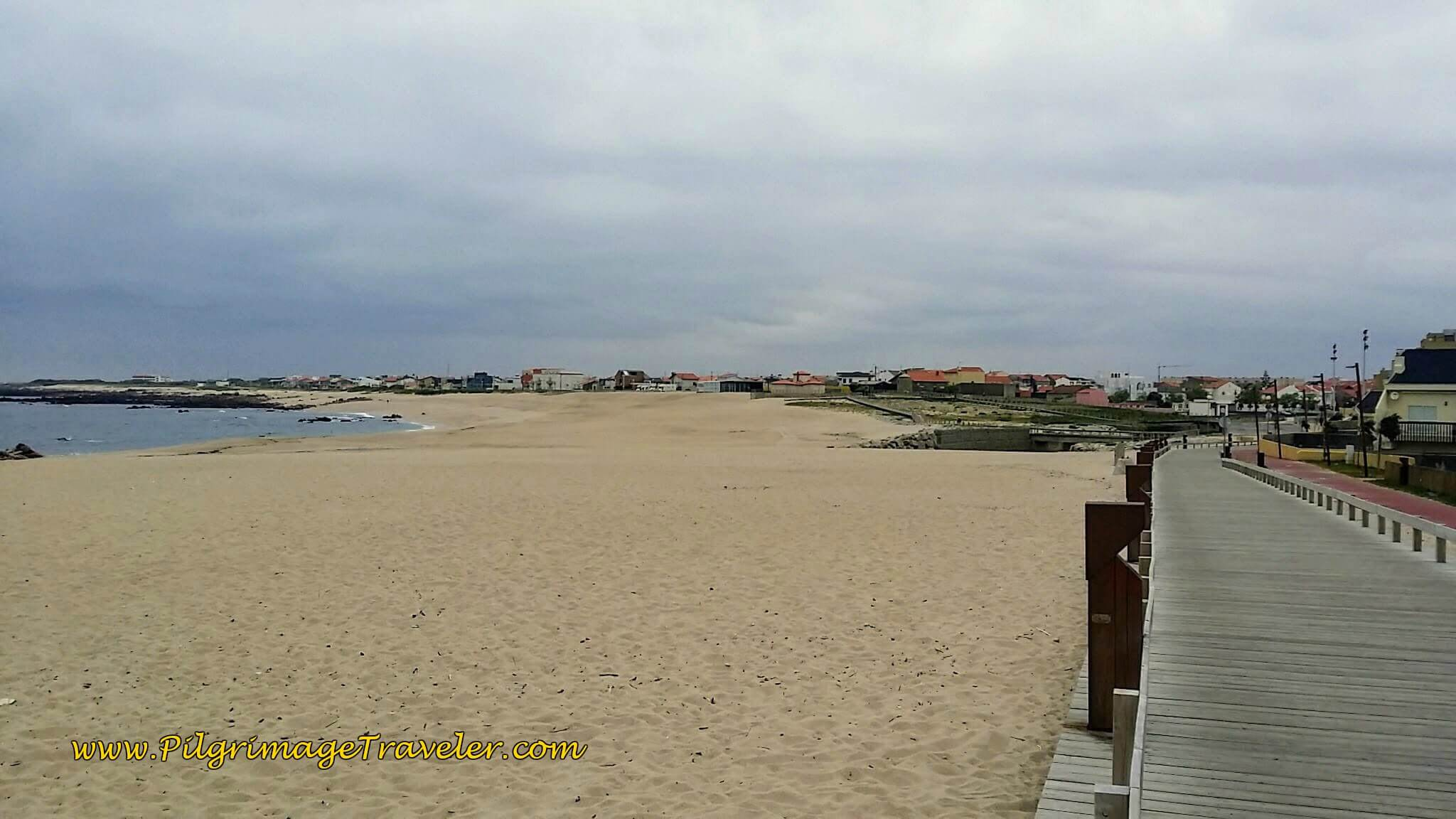 First Boardwalk System Begins at the Praia da Fragosa on day sixteen of the Camino Portugués on the Coastal Route