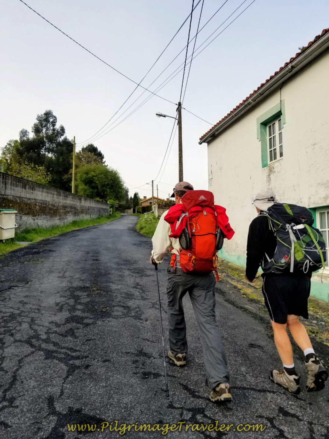 Begin Steep Climb on the Calle Fabrica Labora on day two of the Camino Inglés