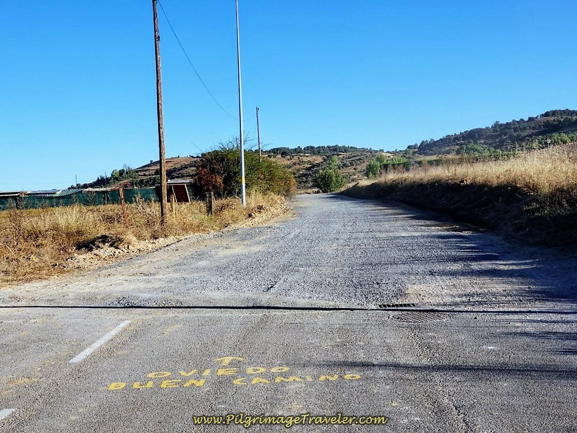 City Limits of Carbajal, Road Becomes Dirt on day one of the Camino San Salvador