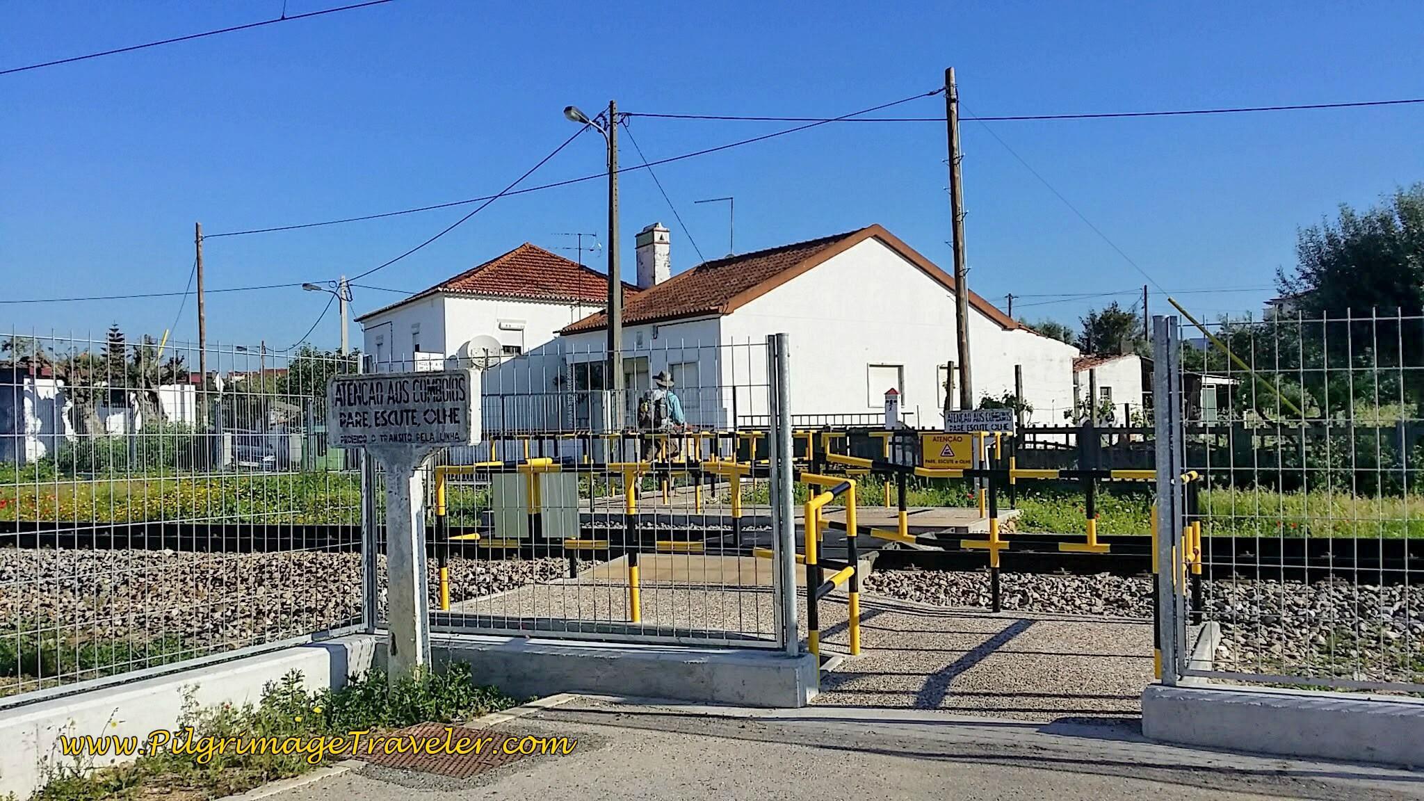 Pedestrian Railroad Crossing in Vila Nova da Barquinha, Portugal