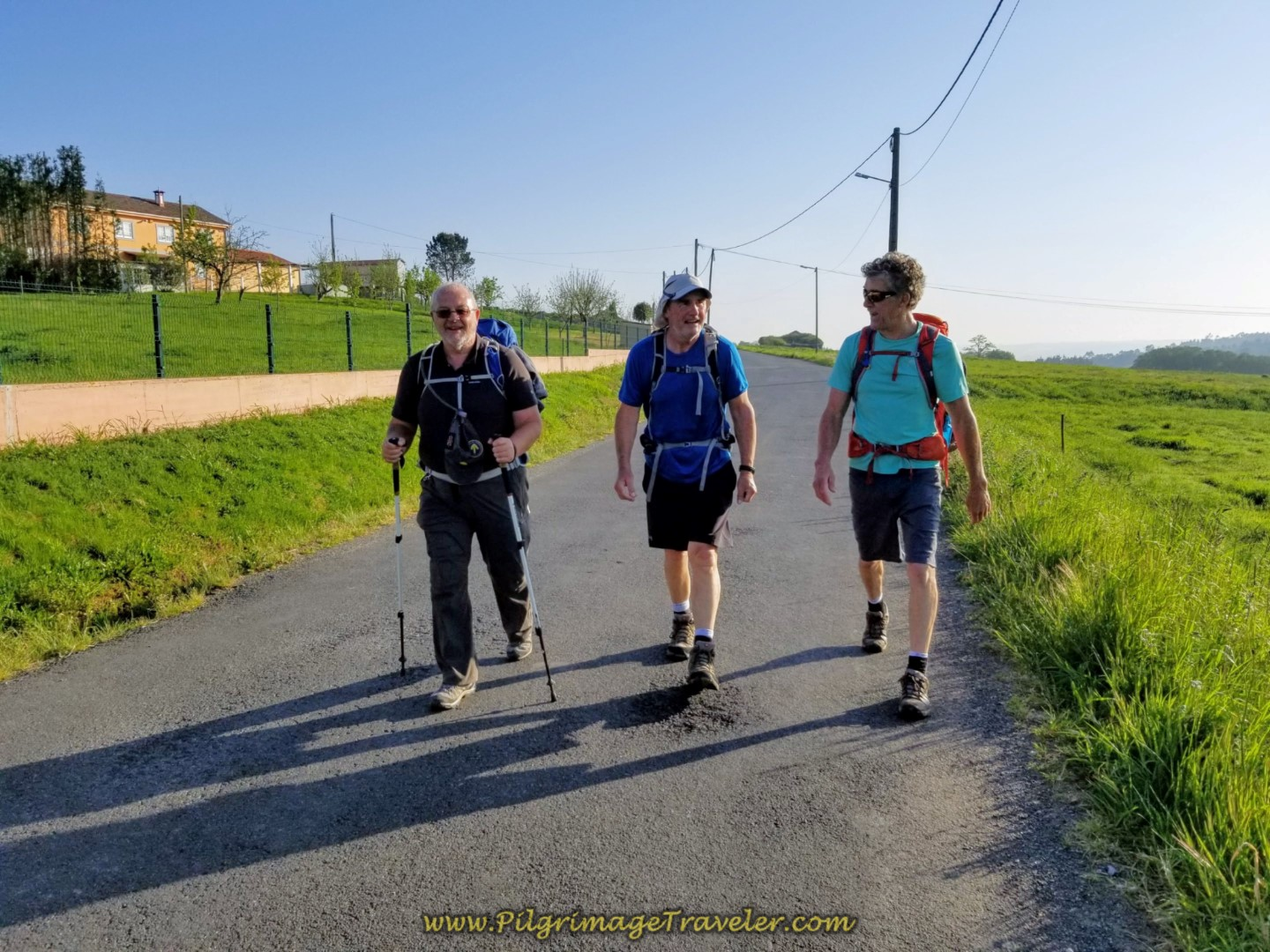 Steve, Rob and Rich Walking Merrily Into Cortos on day eight of the Camino Inglés