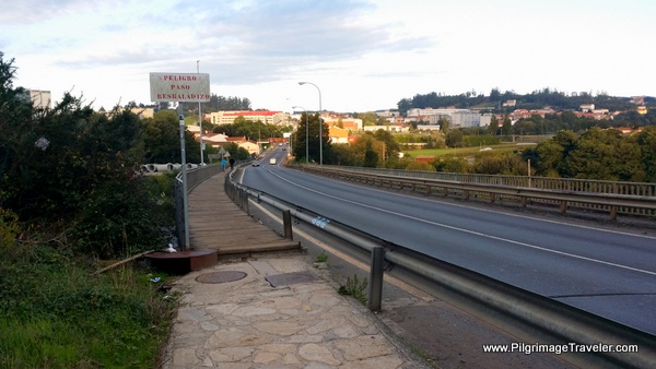 Crossing the Bridge over the AP-9 into Santiago de Compostela
