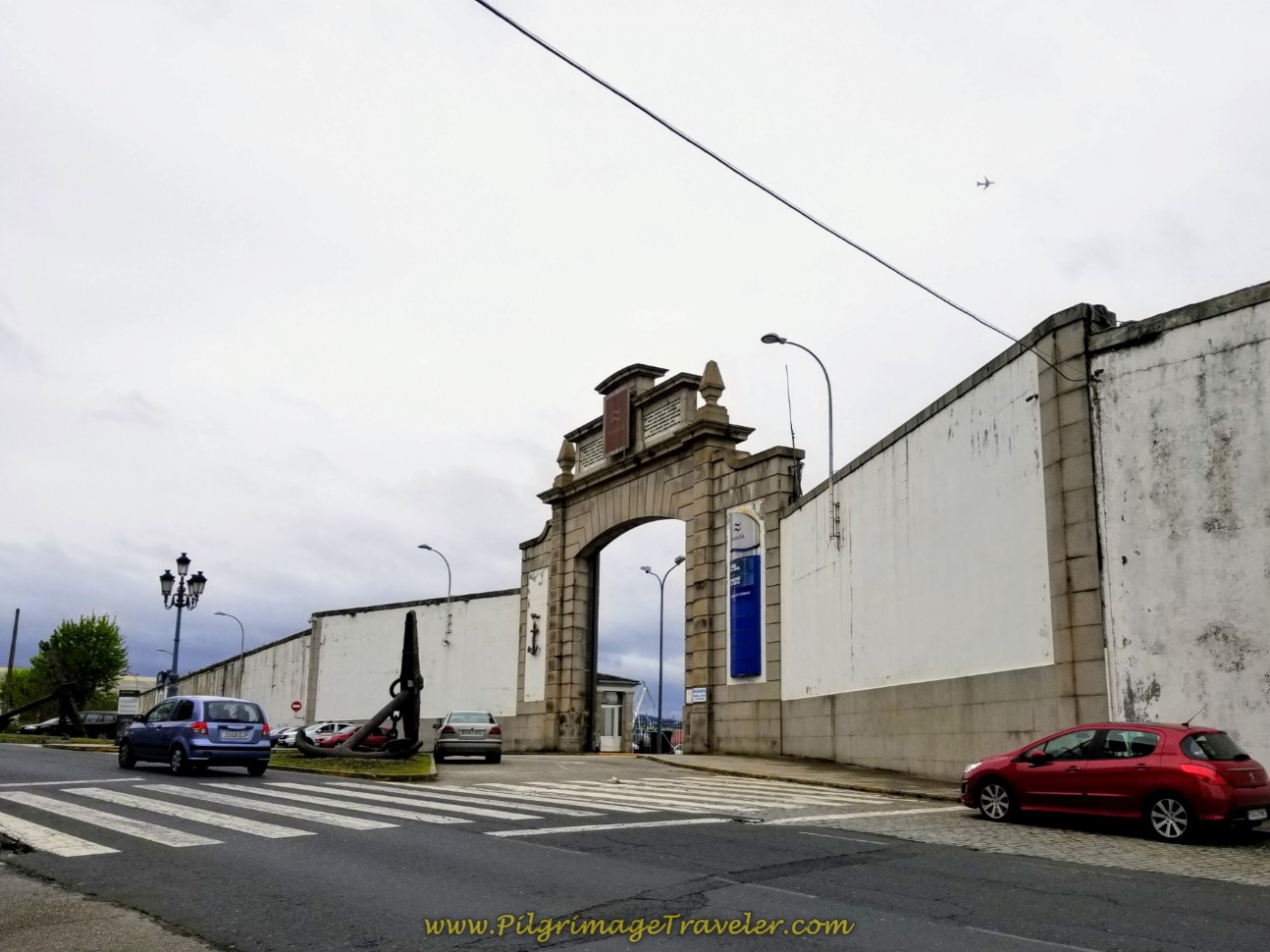 Navantia Shipyard Entrance on the Rúa Taxonera on day one of the Camino Inglés