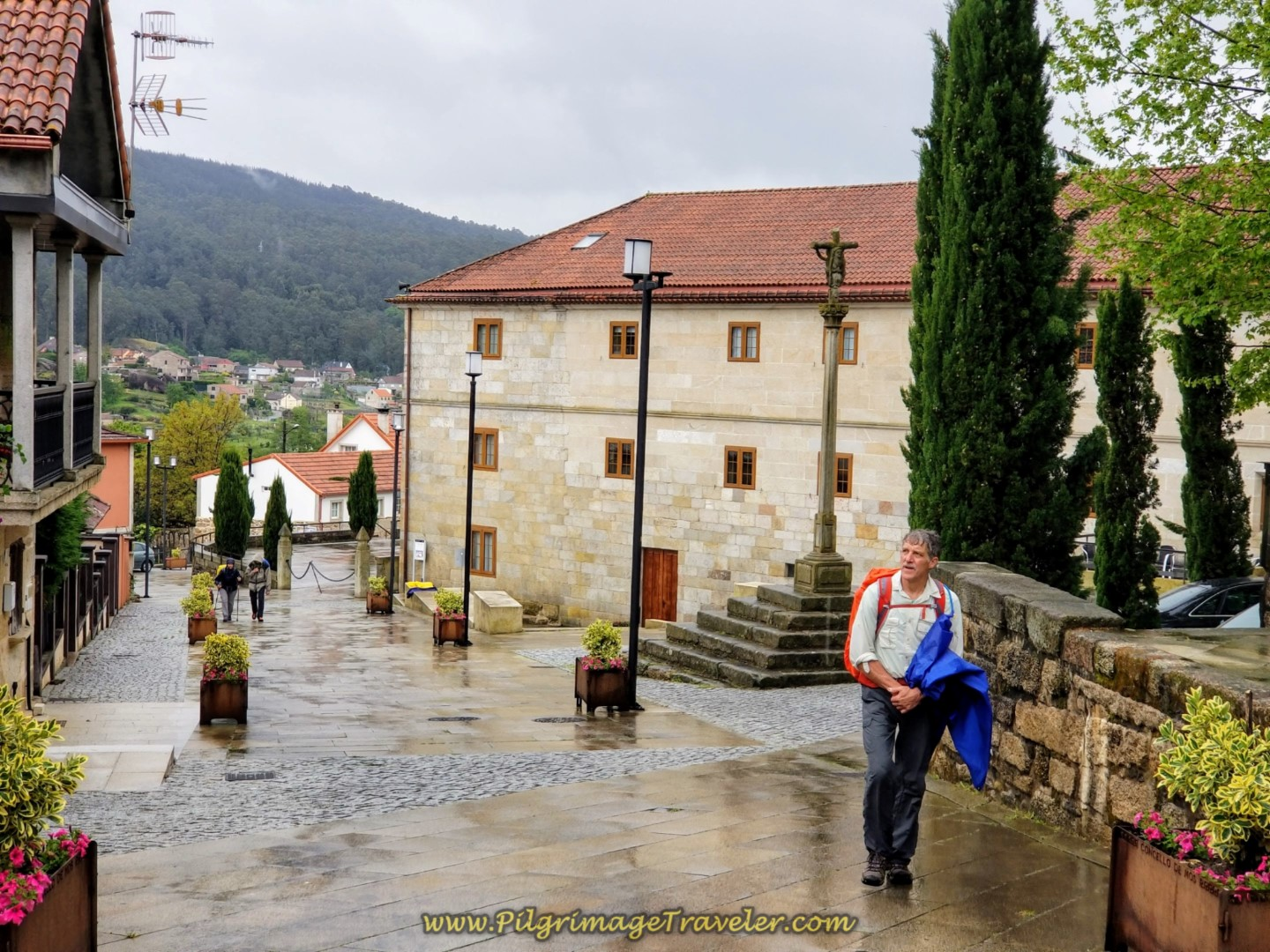 Rich Climbs on the Pedestrian Way in the Town of Mos on day twenty-one of the central route of the Portuguese Camino