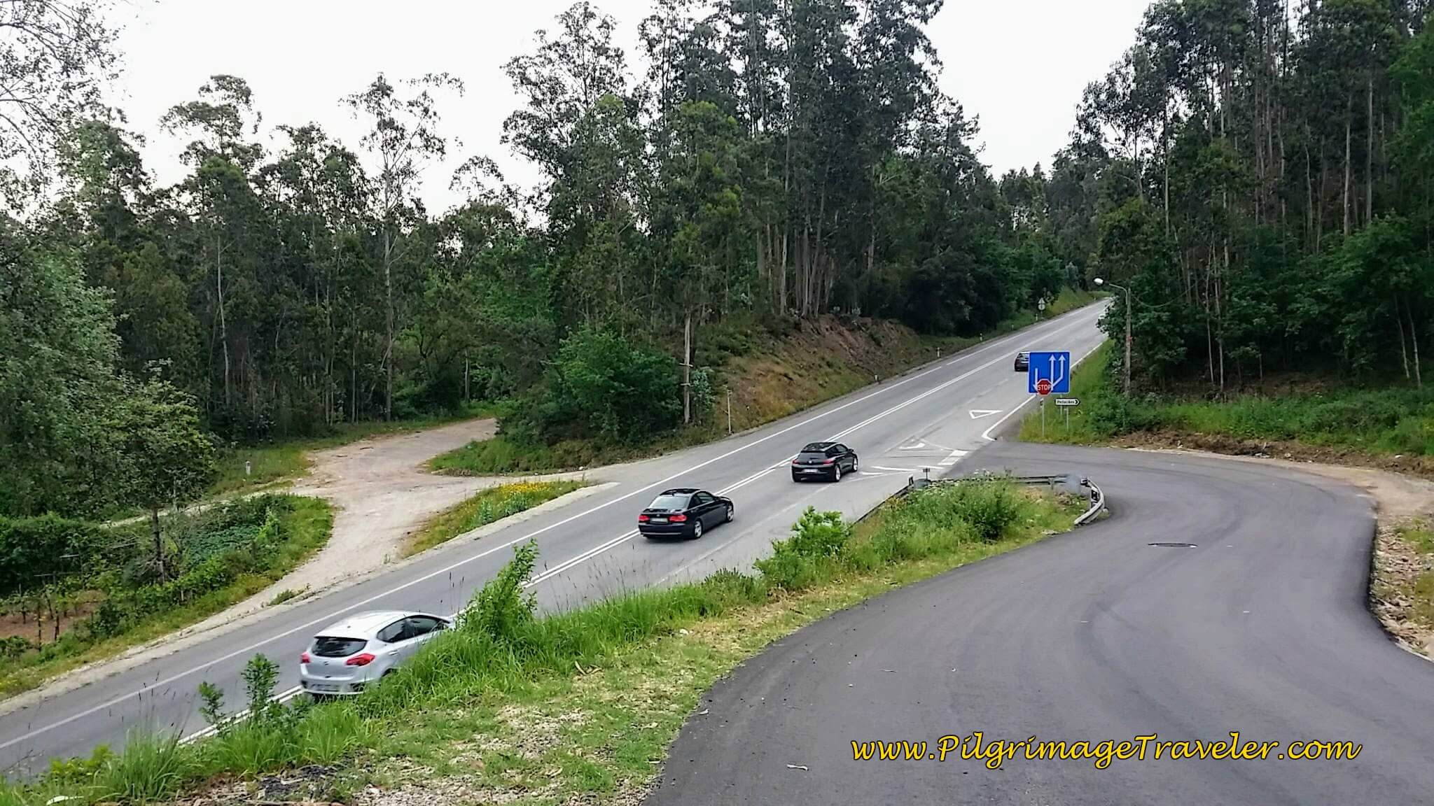 Down the hill on the Estrada Costa and cross the N1 on the Camino Portugués in Lamas do Vouga.
