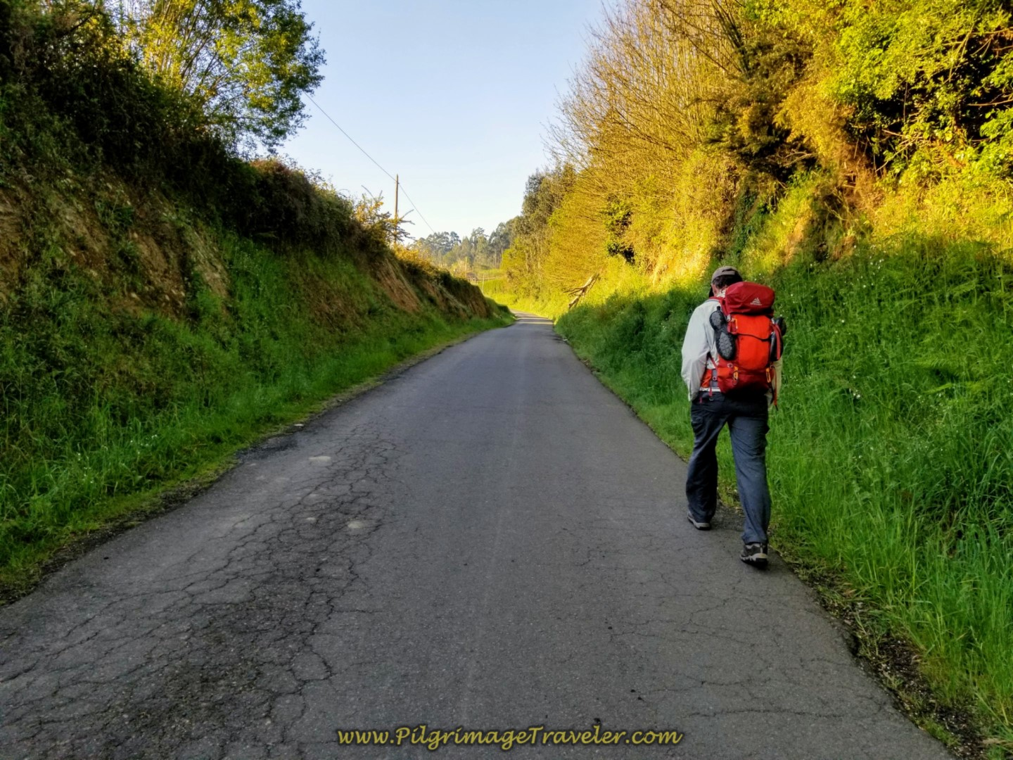 Walking Along Country Road on day two of the La Coruña Arm of the Camino Inglés