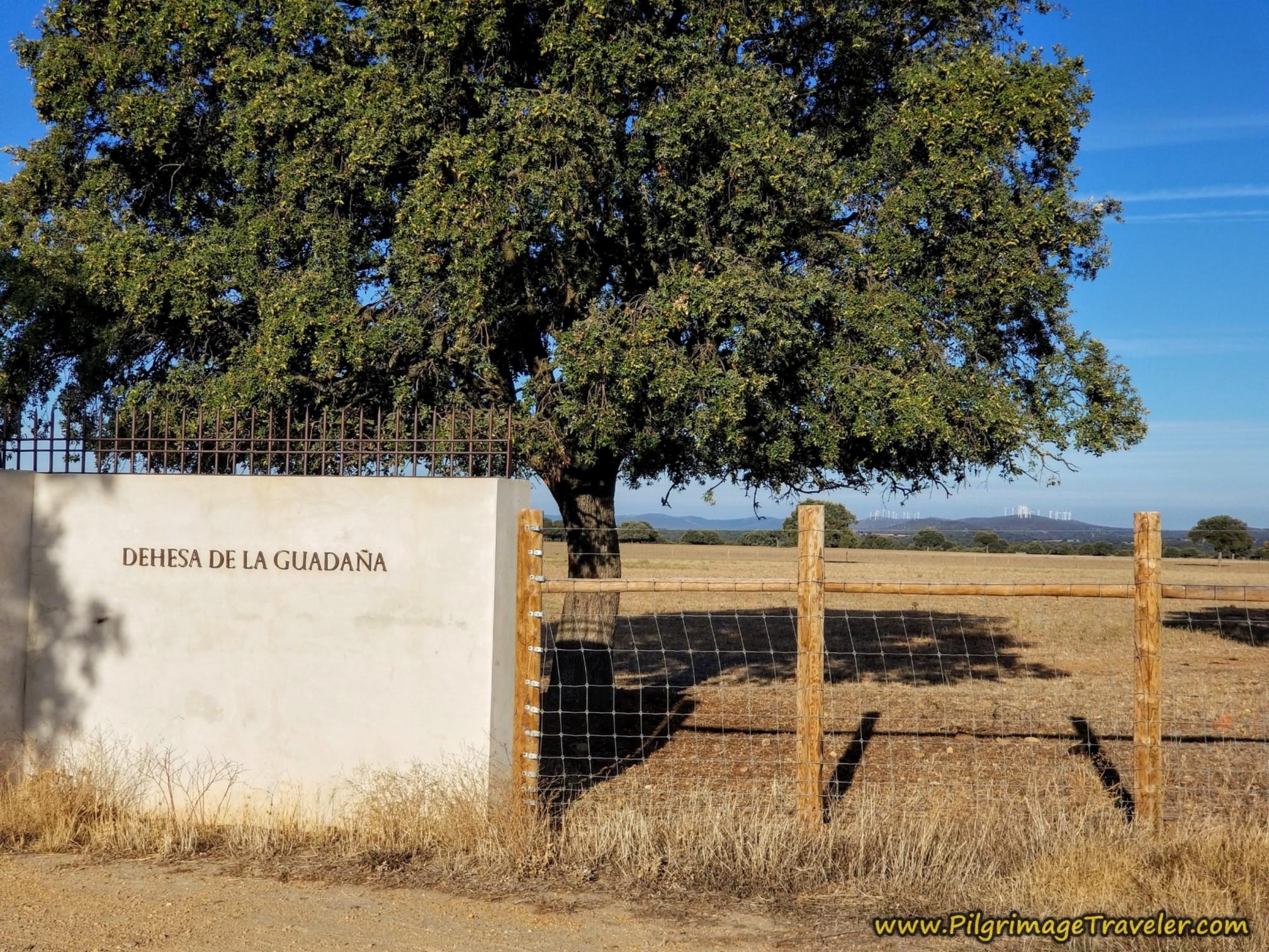 Walk by the Dehesa de la Guadaña Sign