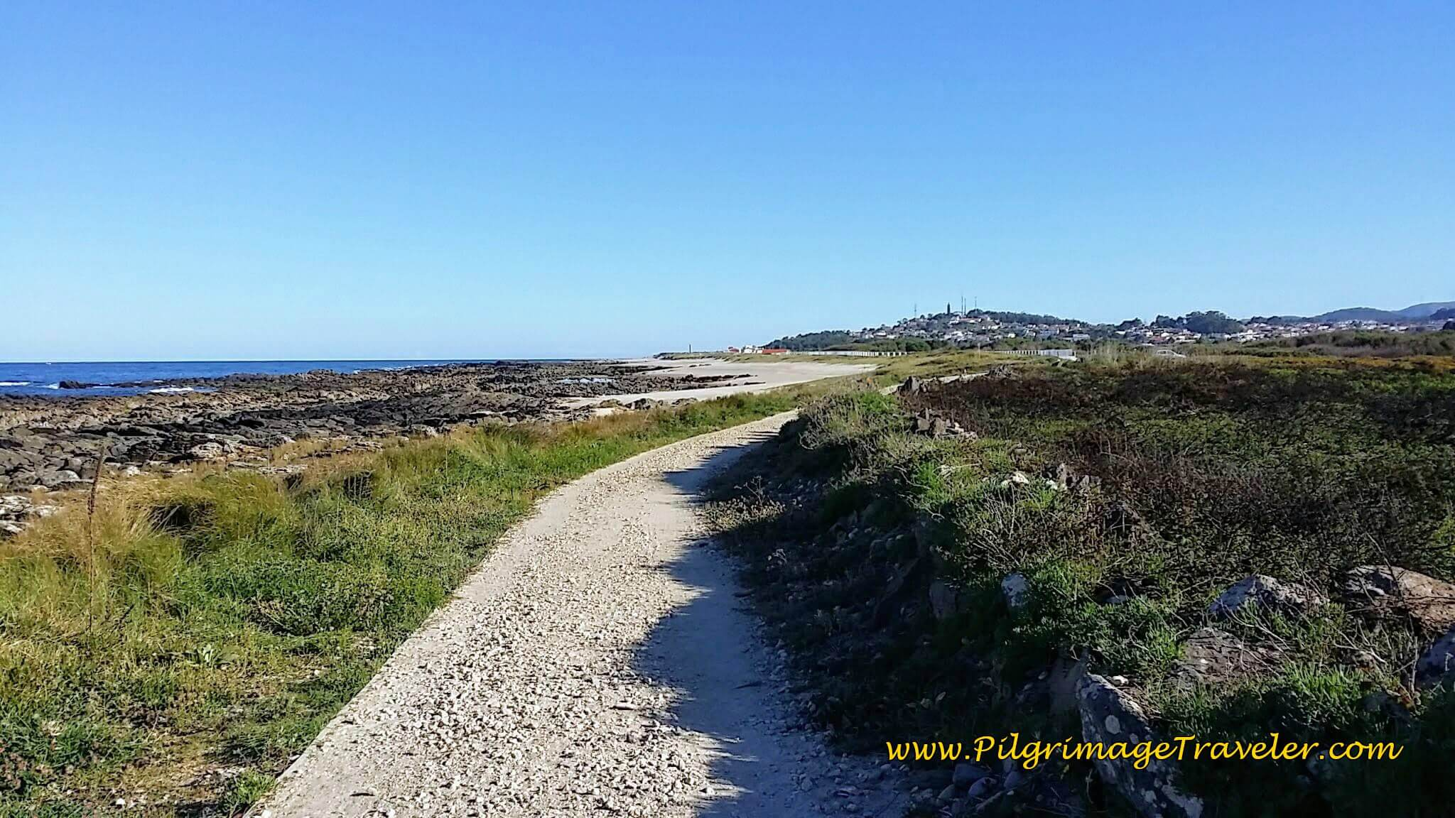 Gravel Road Continues Past Windmills on day eighteen of the Camino Portugués on the Senda Litoral