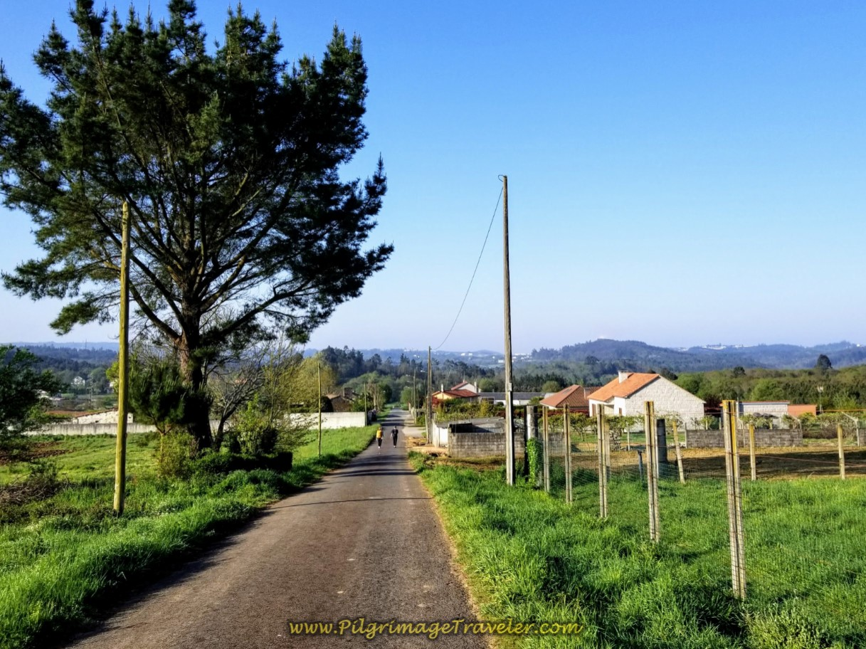 Walking Into Hamlet of Lameira on day eight of the Camino Inglés