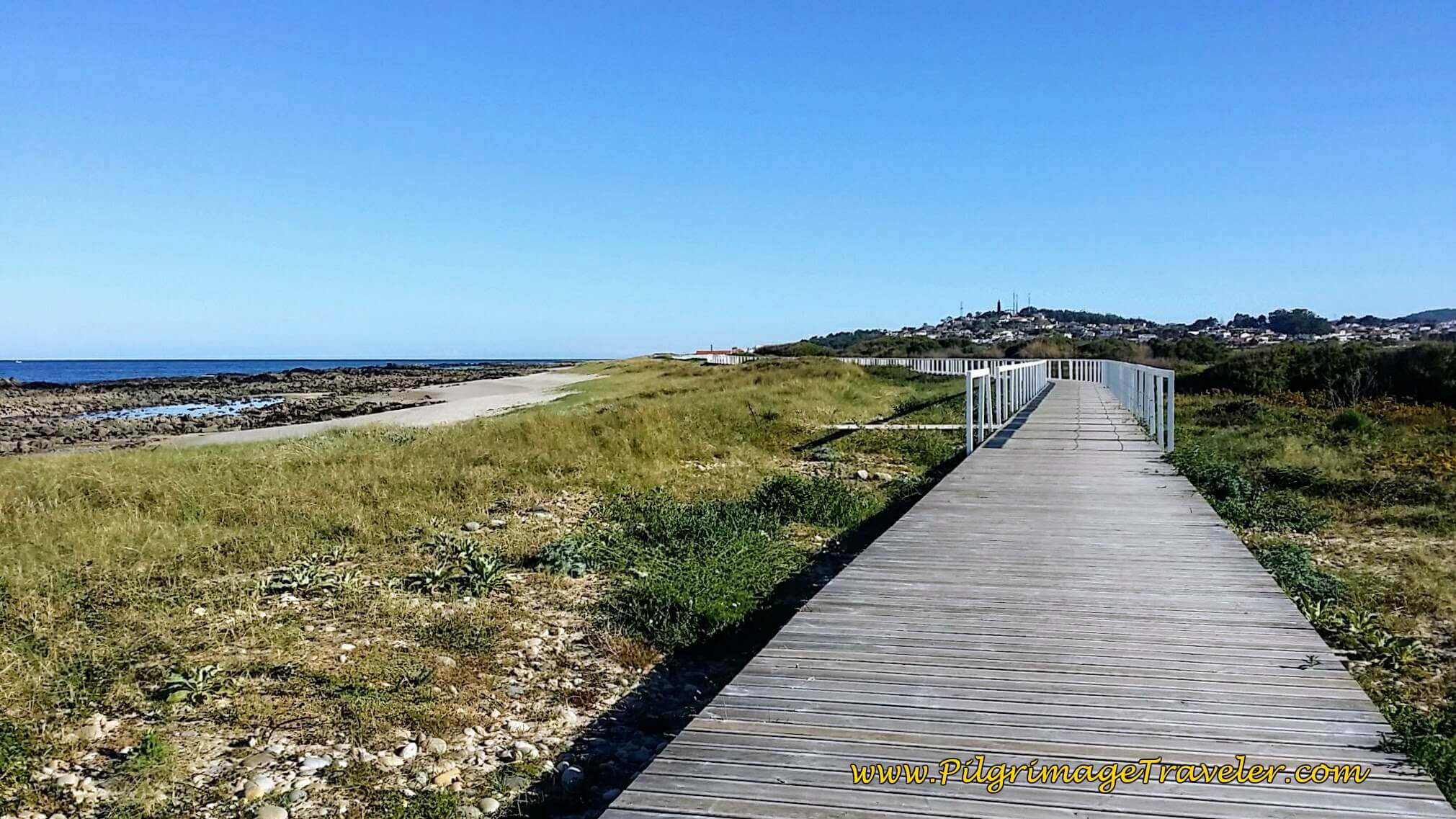 Boardwalk to Praia do Canto Marinho on day eighteen of the Camino Portugués on the Senda Litoral