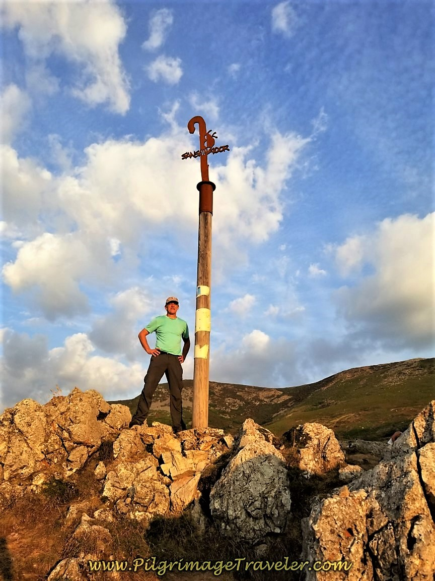 Rich at La Cruz de San Salvador on day three of the Camino.