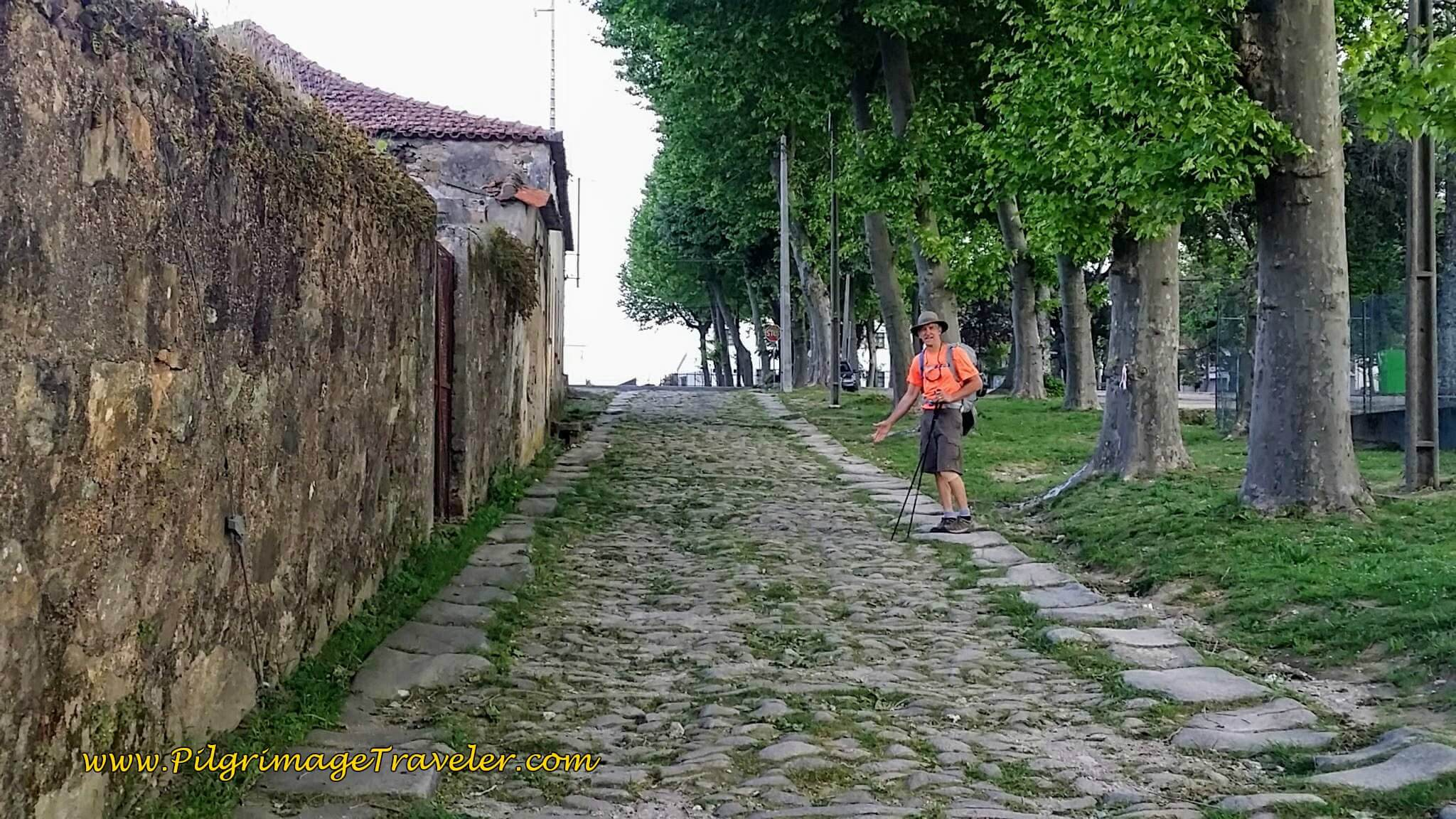 Rich on the Roman Road in Airas on day fourteen of the Portuguese Way