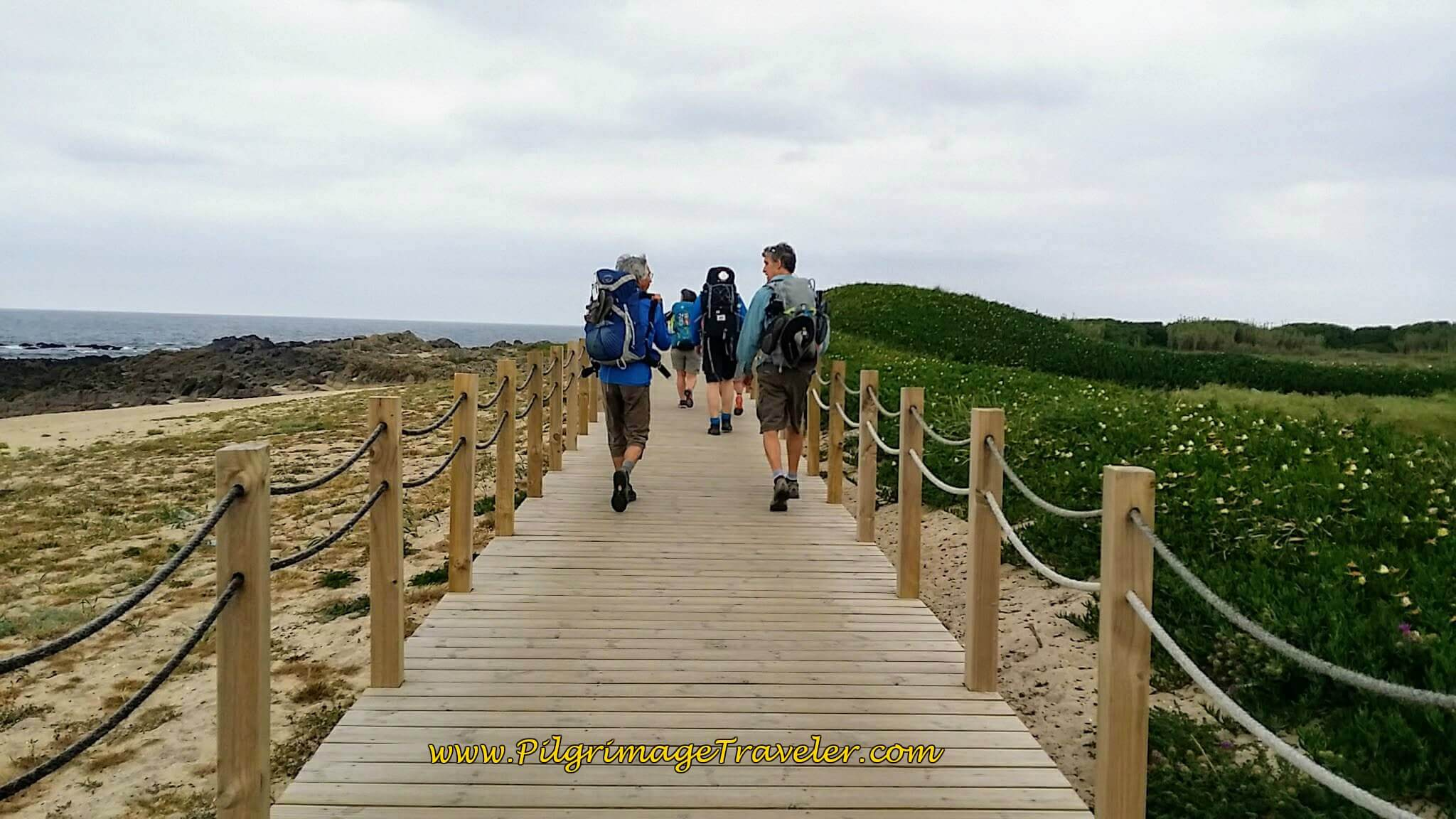 Frenchman with Rich on the Boardwalk towards the Praia do Santo André on day sixteen of the Camino Portugués on the Coastal Route