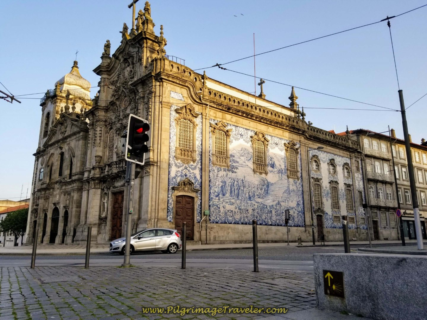 Twin Churches and Camino Arrow in Porto on day fifteen on the Central Route of the Camino Portugués