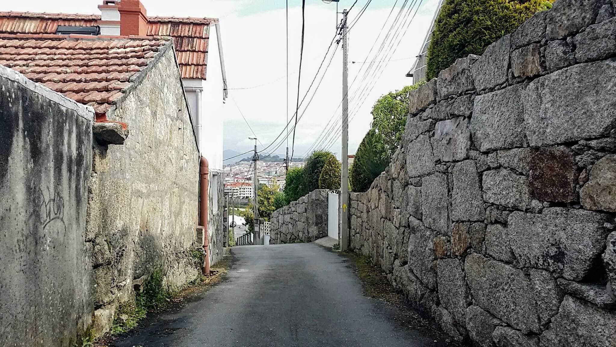 Down the Hill on the Rúa do Roupeiro in Vigo, Spain on day twenty-one of Portuguese Way
