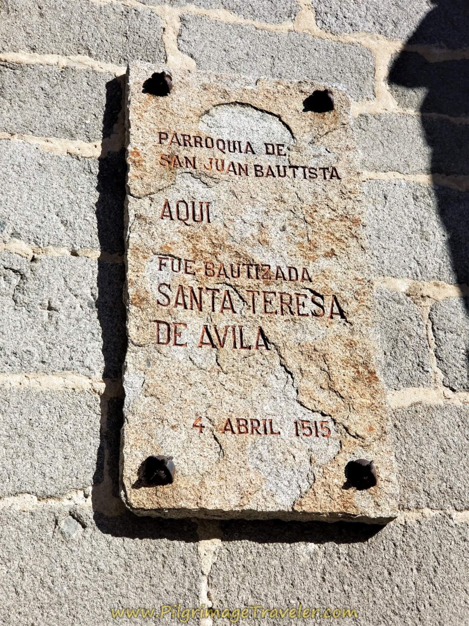 Iglesia de San Juan Bautista Plaque, Avila