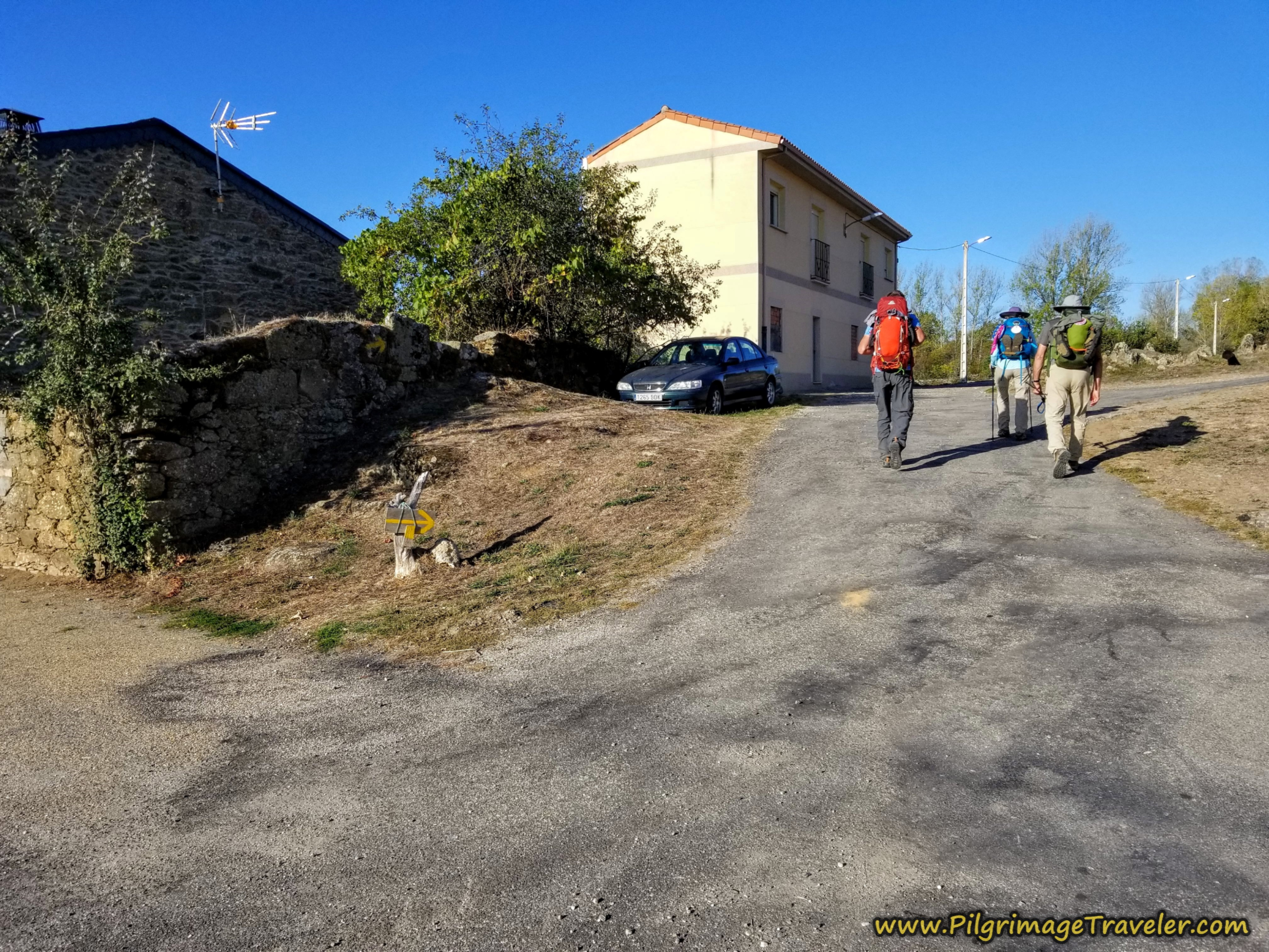 Right Turn After Church Square on the Camino Sanabrés from Rionegro del Puente to Entrepeñas