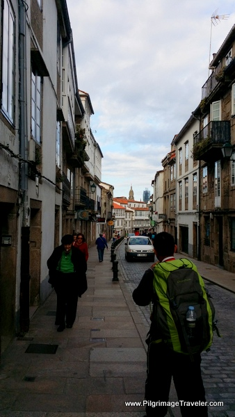 Our First Glimpse of the Cathedral on the Rúa de San Pedro