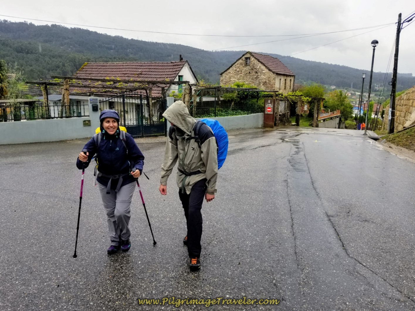 Miriam and Borut Negotiating the Climb out of Mos on day twenty-one of the central route of the Portuguese Camino
