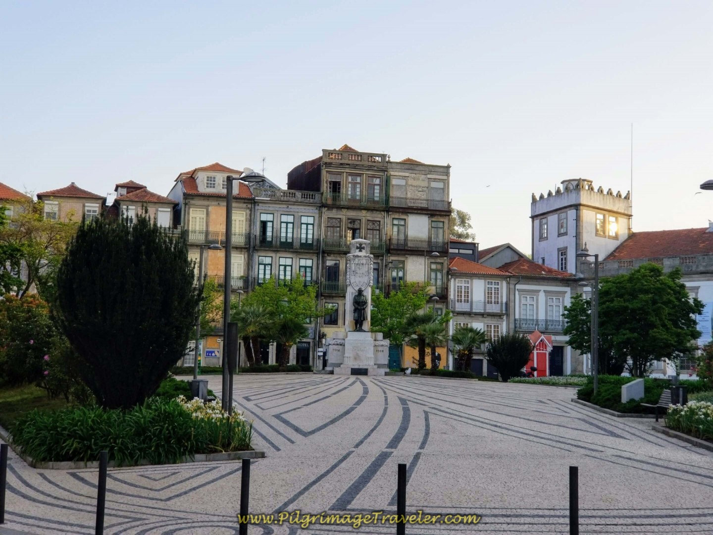 Turn Left at Statue in the Praça de Carlos Alberto in Porto on day fifteen on the Central Route of the Camino Portugués