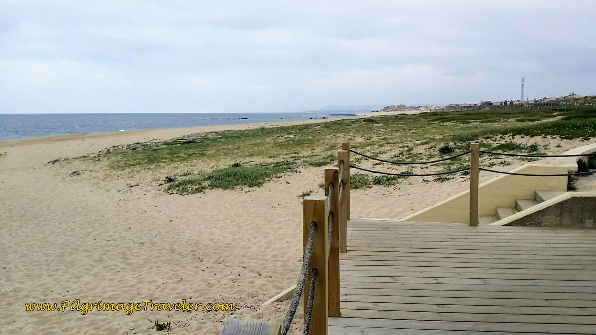 Boardwalk Ends, Turns Right to Join the Rua Marginal on day sixteen of the Camino Portugués on the Coastal Route