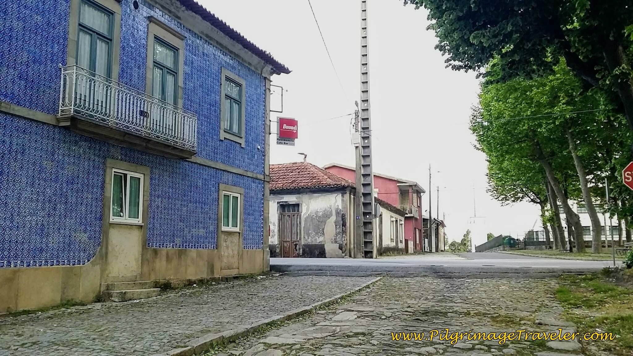 Azulejo-Tiled Building at End of Roman Road in Airas on day fourteen of the Portuguese Way