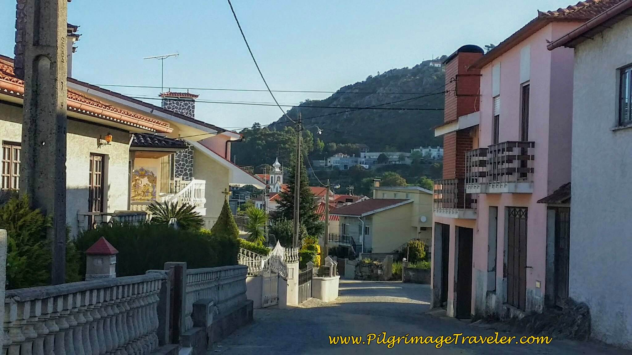 Walking Into Belinho on day seventeen of the Portuguese Way