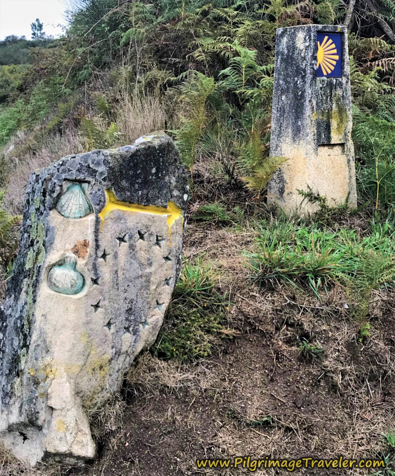 Traditional Galician Waymark and Unique Carved One