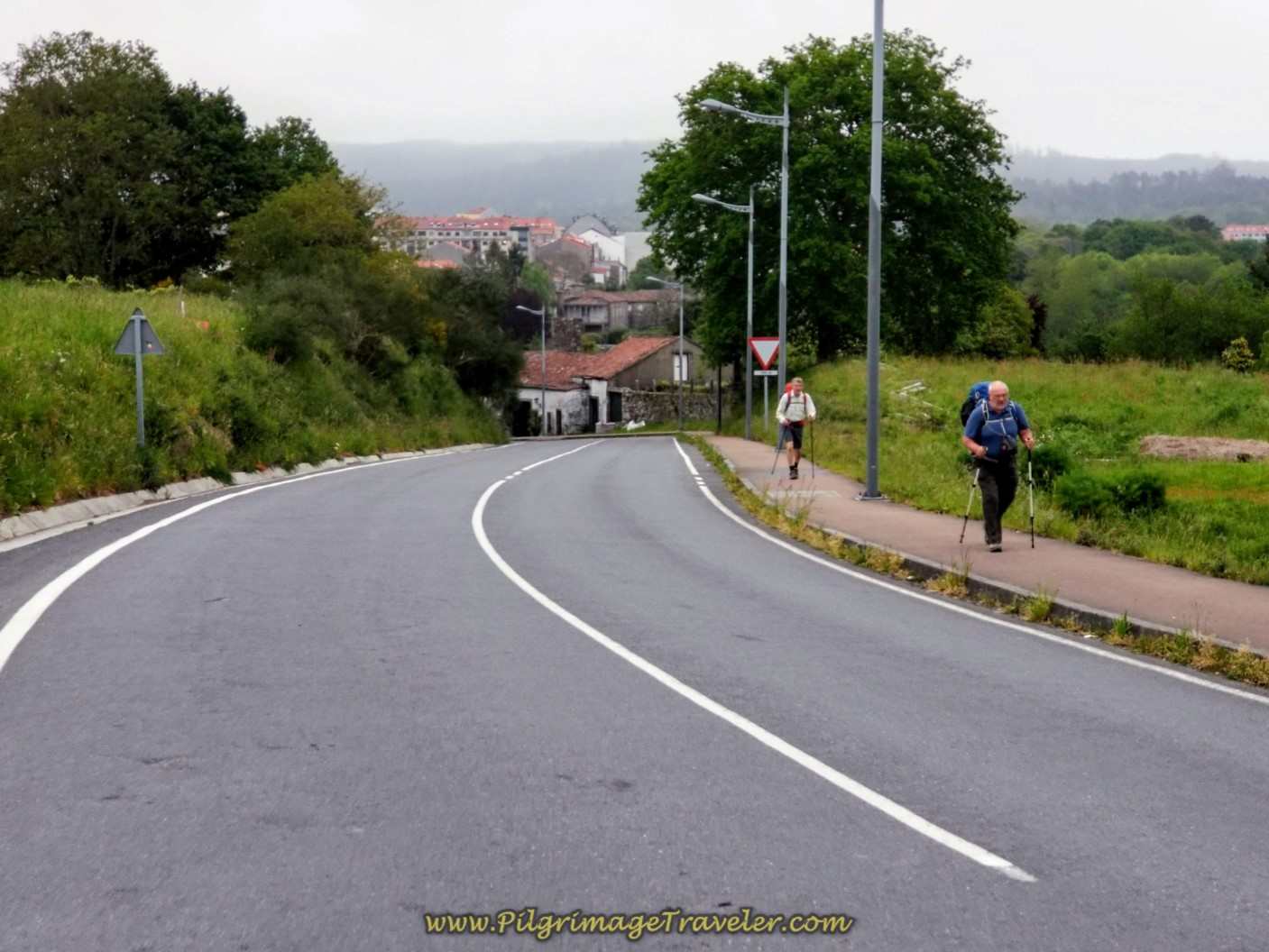 The Long Climb Begins on the DP-5602 on day one of the Camino Finisterre